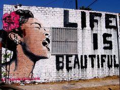 Banksy life is beautiful girl graffiti print on canvas home office decor
