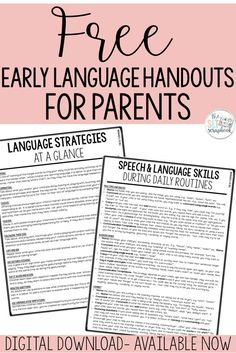 Free Early Language Handout for Parents - speech therapy Preschool Speech Therapy, Speech Therapy Activities, Speech Language Pathology, Language Activities, Speech And Language, Preschool Songs, Handout, Daily Routines, Early Intervention