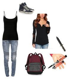 """Untitled #66"" by rainbowchanrawr on Polyvore featuring Balmain, Golden Goose and Victoria's Secret"