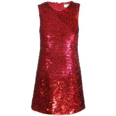 Saint Laurent Sequin Silk Dress (51.935.120 IDR) ❤ liked on Polyvore featuring dresses, red, vestidos, cocktail dresses, red cocktail dress, red sequin dress, yves saint laurent, red silk dress and red dress
