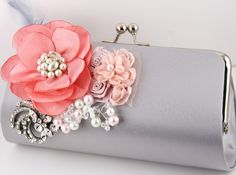 Bridal Clutch in Silver and Coral flower