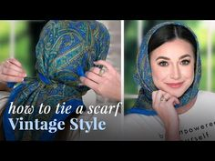 Learn how to tie a headscarf vintage style! We'll show you the classic way, and the Audrey Hepburn way. Scarf Hairstyles, African Hairstyles, Ways To Tie Scarves, Losing Hair Women, Hair Wrap Scarf, Head Scarf Tying, Head Scarf Styles, African Head Wraps, Hair Cover