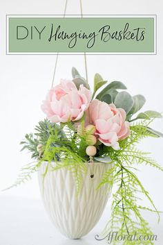 Arrange your hanging baskets with thrillers, fillers and spillers from Afloral.com. This simple DIY flower arrangement is filled with artificial stems that can hang in your home throughout the year with absolutely no care.