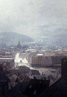 "Nicholas O'Leary: ""Blekeveien"", Oil on canvas, 145 x 100 cm Urban Landscape, Landscape Art, Landscape Paintings, Visit Norway, Snow Scenes, Old Master, Love Painting, Bergen, Airplane View"