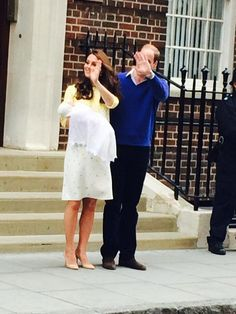The Duke and Duchess of Cambridge with their baby daughter on 2 May 2015. The baby is less than one day old.