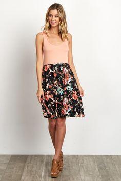 Black-Floral-Bottom-Solid-Top-Dress