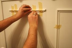 Molding_DIY Picture Molding Walls. Doing this the very MOMENT I have money in my budget for it. I did this on my doors and put beadboard wallpaper in the panels. To cut accurate miters I used a pair of miter shears