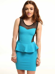 https://www.cityblis.com/7022/item/5703  Zig Zag Peplum Blue Dress - $35 by Living Royal  This Zig Zag Peplum Blue dress is lightning hot. The zig zag print gives the dress a dimensional look, that works well with the peplum shape. Looks great paired with our clear cuff bangles.  *95% polyester, 5% spandex *Made in USA *Model wearing small MODEL INFO  Bella is a US size 2 Height: ...