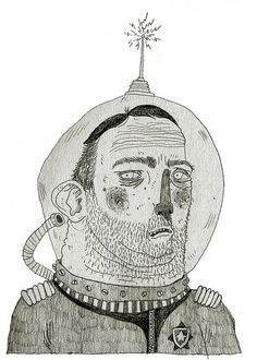 Scruffy Cosmonaut, Black & White Line Drawing, by pearpicker., via Flickr.