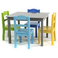 Tot Tutors Elements Wood Table and 4 Colored Chairs Set