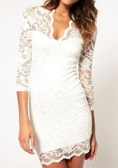 Neck Scalloped Lace Dress - White