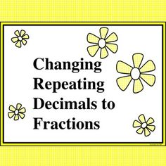 Changing Repeating Decimals to Fractions Bundle Students often struggle with changing repeating decimals to fractions and learning to set up a system of equations. This product provides a structured approach that will help students with the process. Materials for teaching the shortcut method (if the decimal point immediately precedes the repetend) are included as well. The notes may be used for traditional note-taking or used in an interactive notebook.