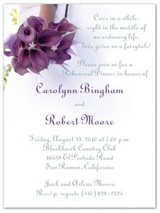Your wedding weekend has finally arrived and with it a slew of activities – wedding rehearsal dinner Dinner Invitation Wording, Rehearsal Dinner Invitations, Wedding Rehearsal, Elegant Invitations, Rehearsal Dinners, Purple Lily, Lily Wedding, Wedding Weekend, Etiquette