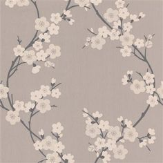 Cherry Blossom Wallpaper, Taupe & Charcoal