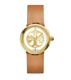 Reva Watch in Luggage Leather/Gold-Tone (28 mm) | Tory Burch