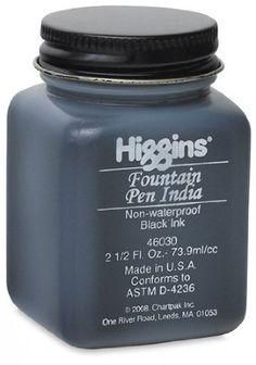 Amazon.com: Higgins Fountain Pen India Ink - Black, 2.5 oz, Fountain Pen India Ink: Office Products