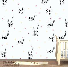 Panda bear pattern decal nursery wall decal by ValdonImagesNursery