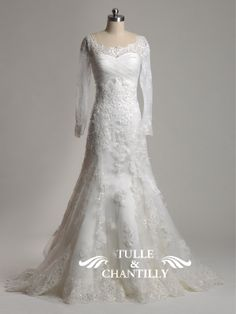 Spring- Sabrina Neckline Vintage Lace Wedding Dress with Long Sleeves for Naomi