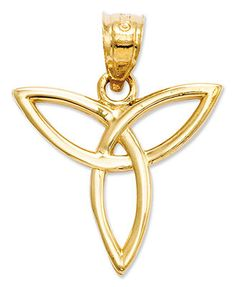 Sweet and symbolic. This polished Trinity Angel charm makes the perfect Celtic gift. Crafted in 14k gold. Chain not included. Approximate length: 1 inch. Approximate width: 4/5 inch. | Photo may have