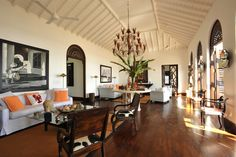 Michael La Rocca and Jack Kelly's Sri Lankan vacation home. Tropical yet upscale living room.