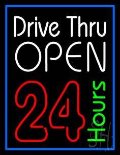 Drive Thru Open 24hr Neon Sign 31 Tall x 24 Wide x 3 Deep, is 100% Handcrafted with Real Glass Tube Neon Sign. !!! Made in USA !!!  Colors on the sign are Blue, White, Red and Green. Drive Thru Open 24hr Neon Sign is high impact, eye catching, real glass tube neon sign. This characteristic glow can attract customers like nothing else, virtually burning your identity into the minds of potential and future customers.