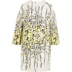 Giambattista Valli Floral-print cotton-jacquard coat ($3,865) ❤ liked on Polyvore featuring outerwear, coats, jackets, casacos, coats & jackets, yellow, white coat, jacquard coat, cotton coat and floral coat