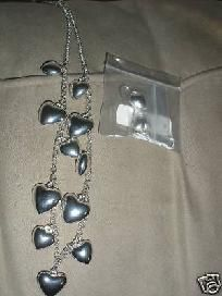 Womens New Silver dangle Heart Neckace & earrings set. For more visit me at www.dandeepop.com
