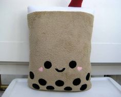 Title: Giant BOBA BUBBLE TEA plush Pillow.  I love bubble tea with tapioca pearls.   The pillow you receive may differ slightly, due to handmade nature of each pillow.  DESIGN CHOICES:  This bubble te