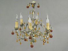 LUSTRE à six bras de lumières en forme de branchages en tôle argentée