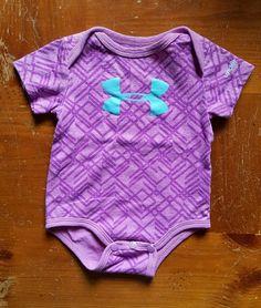 Under Armour girls 0-3 months purple geometric one piece bodysuit  #underArmour #Everyday