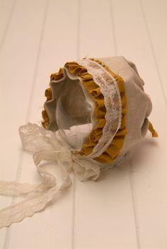 Linen and Lace Vintage Baby Bonnet - Perfect Photography Prop