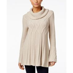 Style & Co. Cowl-Neck Tunic Sweater, ($44) ❤ liked on Polyvore featuring tops, sweaters, hammock heather, cowl neck tops, pink sweater, cowlneck top, cowl neck sweater and style&co tops