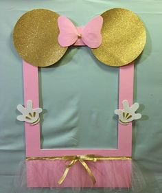 Photo Booth Frame to Take Pictures Minnie Mouse Pink Gold Tutu Birthday Frame | eBay