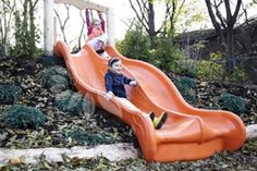 The slide itself isnt natural, but I love the idea of using hills to eliminate the fall height of slides.