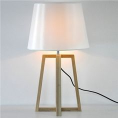 """Empire Shaded 27.5""""High Designer Table Lamp with Wood Tripod Design"""