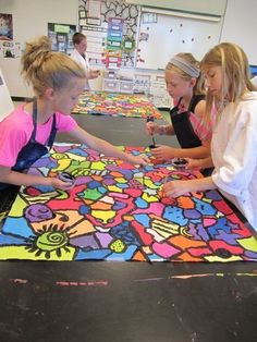 start with black shapes - no touching - connect with lines - kids get one color - walk around and paint shapes - go over lines with black by cheri