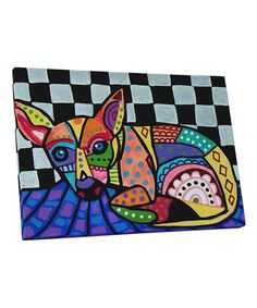 This Heather Galler Chihuahua III Dog Gallery-Wrapped Canvas is perfect! Paint Your Pet, Chihuahua, Wrapped Canvas, Art Work, Canvas Art, Vibrant, Kids Rugs, Invitations, Dog