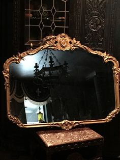 Ornate Antique Old Hollywood Mirror looks like Joan Crawford's Dressing Room! Victorian Mirror, Victorian Decor, Victorian Homes, Dark Home Decor, Goth Home Decor, Mirror Photo Frames, Wall Mirror, Mirrors, Nocturne