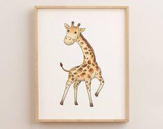 Printable Giraffe Wall Art Print, Safari Theme, Downloadable Giraffe, Giraffe Calf Print, Animal Print, Child Art Print, Africa Print, 8x10