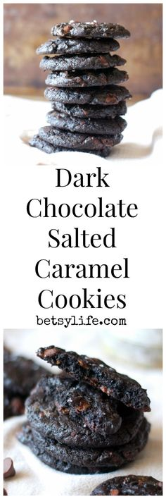 Dark Chocolate Salted Caramel Cookies: the ultimate Christmas cookie recipe. Perfect for your next holiday party or this year's cookie exchange, they would be an awesome base for an ice cream sandwich or just as an addition to your line-up of desserts. Cookie Desserts, Just Desserts, Cookie Recipes, Delicious Desserts, Dessert Recipes, Cookie Ideas, Salted Caramel Cookies, Chocolate Cookies, Chocolate Morsels