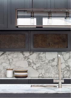 A beautiful combination of aged woven brass cabinetry, Statuario marble and Brushed Nickel by @luigirosselliarchitects.  #SussexTaps #CraftedinMelbourne #BrushedNickel