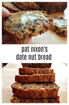Pat Nixon's Date Nut Bread - still the best! - Barb Rahauiser - Pat Nixon's Date Nut Bread - still the best! Pat Nixons Date Nut Bread - Frugal Hausfrau - Date Recipes, Loaf Recipes, Cooking Recipes, Cleaning Recipes, Bread Cake, Dessert Bread, Dessert Wine, Just Desserts, Dessert Recipes
