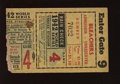 1942 World Series Ticket Stub @ New York Yankees Game 4 -- To view further for this item, visit the image link.