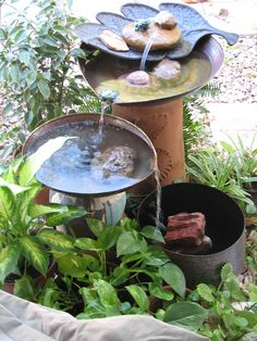 """""""I have been thinking about making a fountain, and may try this with cement/plaster molds of water lily leaves. Diy Water Fountain, Fountain Ideas, Garden Fountains, Water Fountains, Ponds Backyard, Backyard Waterfalls, Backyard Ideas, Garden Ideas, Tabletop Fountain"""