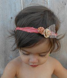 Coral Flower Silk Headband by MyDarlingEmma on Etsy, $13.00
