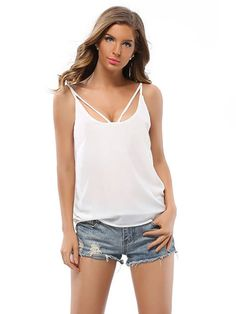 Sale 27% (17.79$) - Women Strapless Sexy V-Neck Sleeveless Halter Pure Color Chiffon Blouses