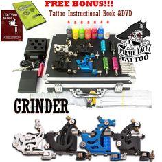Grinder Complete Tattoo Kit, 4 Tattoo Machine Guns, Power Supply, 7 Inks - New