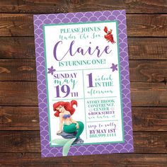 Hey, I found this really awesome Etsy listing at https://www.etsy.com/listing/290172837/little-mermaid-birthday-party-invitation