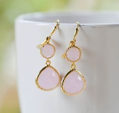 Soft Pink Bridesmaid Jewel Earrings in Gold.  Wedding by RusticGem, $30.00