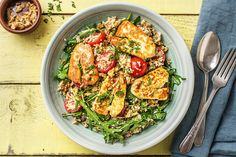 Looking for a tasty midweek dinner option? Try cooking up our Rapid Warm Halloumi Salad in just 10 minutes for a balanced and tasty meal. Halloumi Salad Recipes, Couscous Salad Recipes, Summer Salad Recipes, Lunch Recipes, Dinner Recipes, Grilling Recipes, Seafood Recipes, Beef Recipes, Cooking Recipes